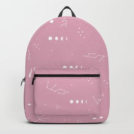 Moon phase boho zodiac sign pink Backpack