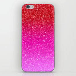 Red/Pink Glitter Gradient iPhone Skin