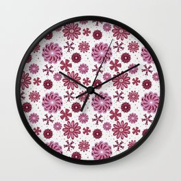 Pastel Purple Abstract Flower pattern Wall Clock
