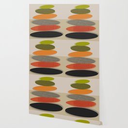 Mid-Century Modern Ovals Abstract Wallpaper