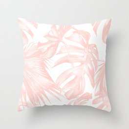 Tropical Leaves Pink and White Throw Pillow