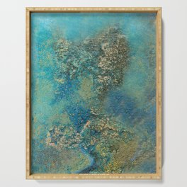 Blue And Gold Modern Abstract Art Painting Serving Tray