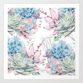 Pretty Pastel Succulents Garden 2 Art Print
