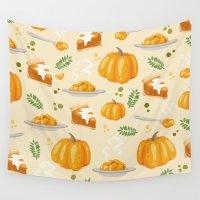 pumpkin Wall Tapestries featuring pumpkin by Ceren Aksu Dikenci