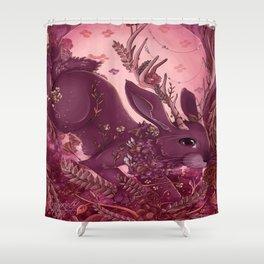 Floral Jackalope Shower Curtain