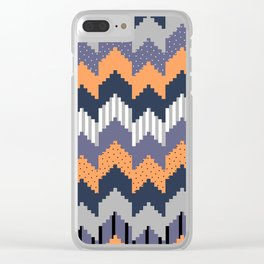 Geometric waves Clear iPhone Case