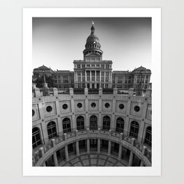 Texas Capitol Building in Austin Texas - Black and White Art Print