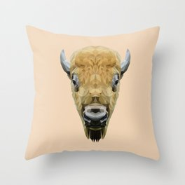 Bison low poly. Throw Pillow
