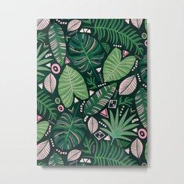 Aztec Jungle Leaves Metal Print