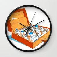 greece Wall Clocks featuring Greece by Shahar Kober