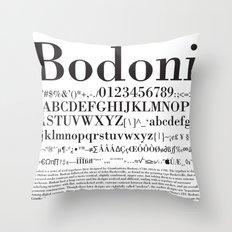 Bodoni (Black) Throw Pillow