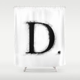 D. - Distressed Initial Shower Curtain