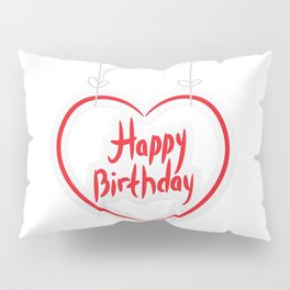 Happy birthday. red paper heart on White background. Pillow Sham