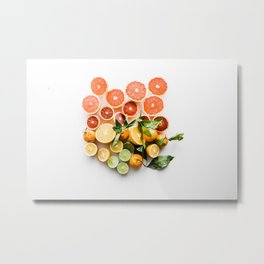 Lemon orange leaf Metal Print
