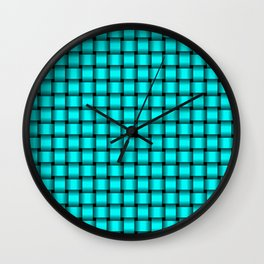 Small Cyan Weave Wall Clock