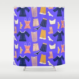Colorful hanging clothes seamless pattern. Creative and modern graphic design. Vibrant colors. Shower Curtain