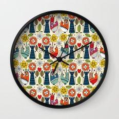 Swedish folksy cats and birds Wall Clock