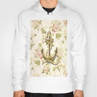 shabby chic Hoodies featuring romantic vintage anchor shabby chic floral by chicelegantboutique