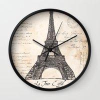 eiffel tower Wall Clocks featuring Eiffel Tower by Debbie DeWitt