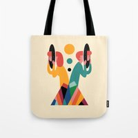 lost Tote Bags featuring Lost by Andy Westface