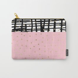 Modern geometrical black pink faux gold polka dots Carry-All Pouch