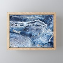 """Travel & nature photography """"details of a rock in blue colors. Abstract fine art mineral print.  Framed Mini Art Print"""