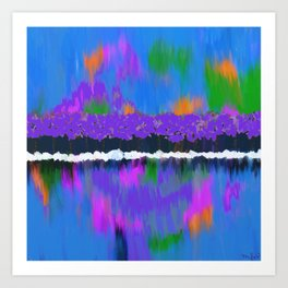 TREES BY THE LAKE OIL PAINTING Art Print