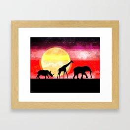 Elephant Giraffe Rhinoceros Framed Art Print