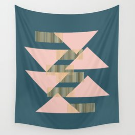 Modern Lines and Triangles Design in Blush, Teal, and Gold Wall Tapestry