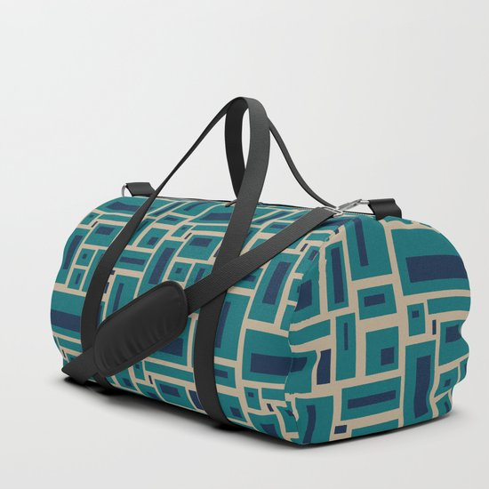 Geometric Rectangles in Navy, Teal and Tan 2 by fischerfinearts