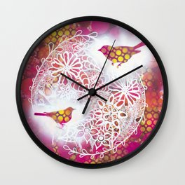 Round Twin Birds Wall Clock