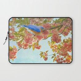 Indigo Bluebird on Pink Flowering Tree Branch Laptop Sleeve