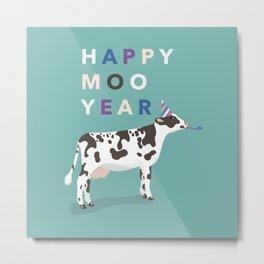 Happy Moo Year (New Year Cow) Metal Print