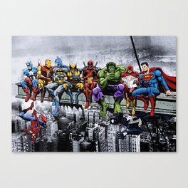 Superhero Lunch Atop A Skyscraper Canvas Print