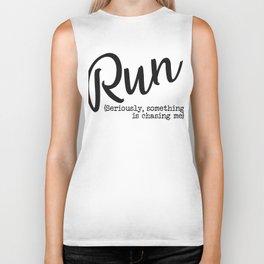 Run Chasing typography Biker Tank