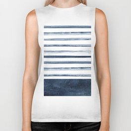 Watercolor Stripes Pattern Biker Tank