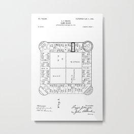 Monopoly: Original Patent Drawing Metal Print