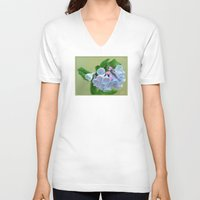 virginia V-neck T-shirts featuring Virginia Bluebells by JoLynne