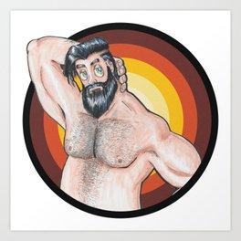 Man Muscle beard bear gay Art Print