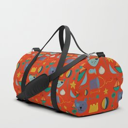 cat and bear pirate red Duffle Bag
