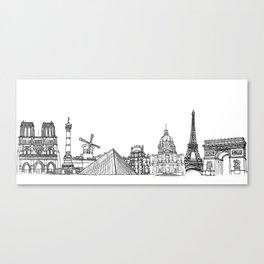 Paris Landmarks by the Downtown Doodler Canvas Print