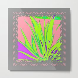 Tropical  Pink-Grey Green Plant Graphic Metal Print