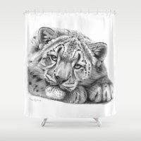 snow leopard Shower Curtains featuring Snow Leopard Cub G105 by S-Schukina