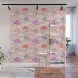 Rainy Day on Pink Wall Mural