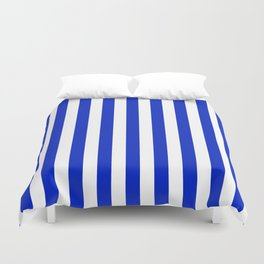 Cobalt Blue and White Vertical Beach Hut Stripe Duvet Cover