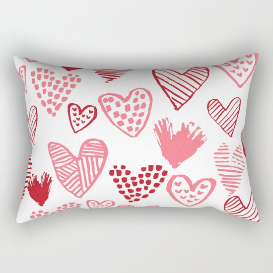 Hearts red and white hand drawn minimal modern fun valentines day gifts Rectangular Pillow