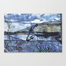 Tipping Point -Skateboarder Launching - Outdoor Sports Canvas Print