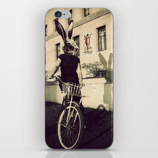 Bunny on Bicycle iPhone & iPod Skin