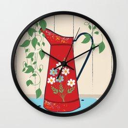 Country Garden Vintage Flower Jug Wall Clock