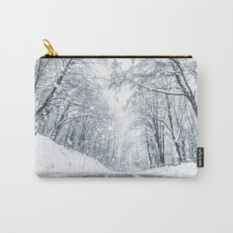 Winter forest snow road. Forest road winter snow view. Carry-All Pouch